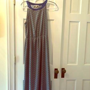 Maxi dress crepe soft flow elastic waist